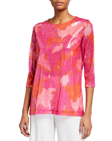 Caroline Rose Sequin Printed 3/4-Sleeve Tunic