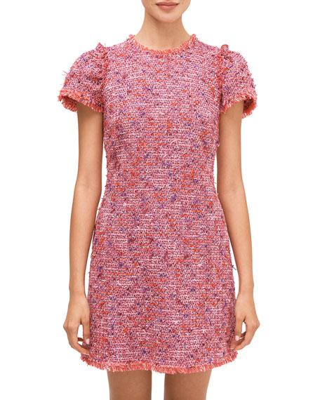 kate spade new york flutter sleeve tweed dress
