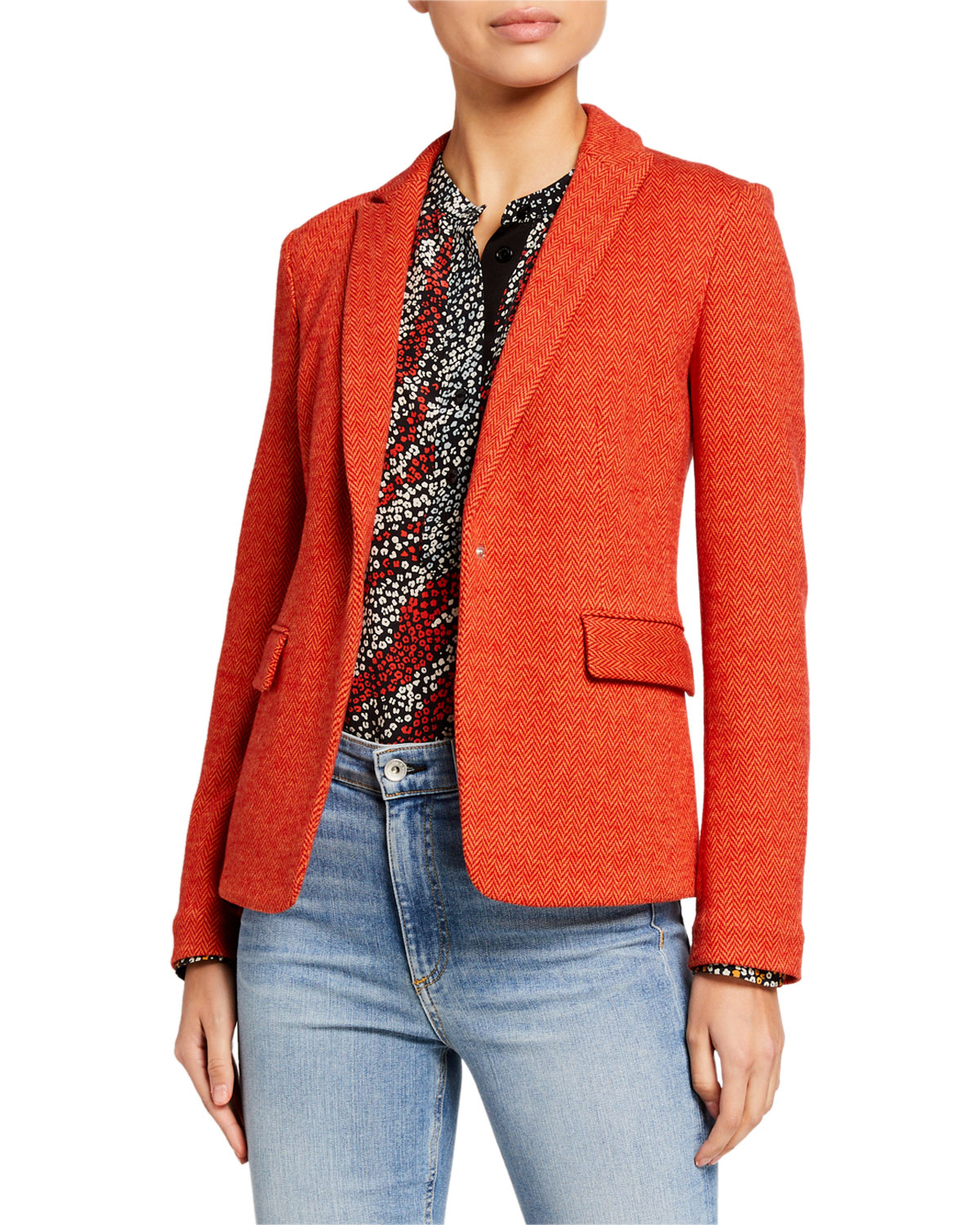Rag & Bone Lexington Herringbone Blazer In Redmult