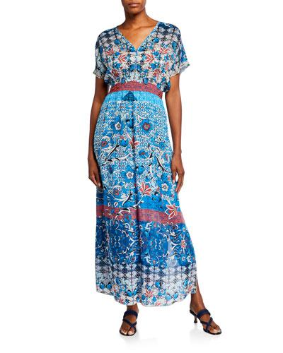 Carmel Short-Sleeve Long Dress w/ Slip