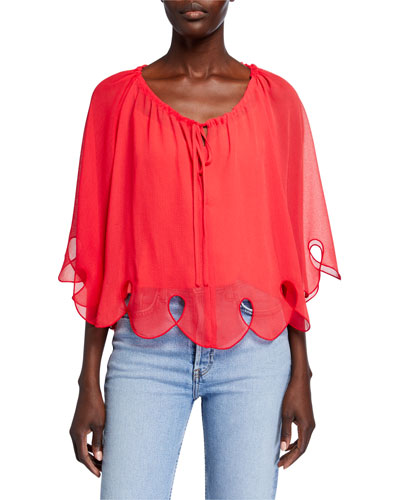 Feminine Scalloped Georgette Blouse