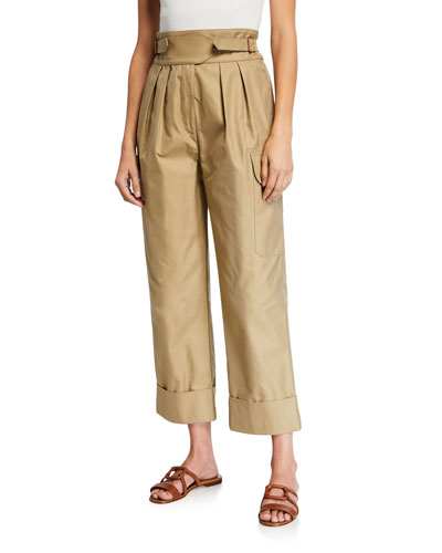 High-Rise Pleated Cargo Pants