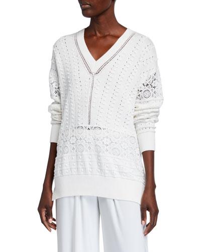 Knit Lace V-Neck Sweater