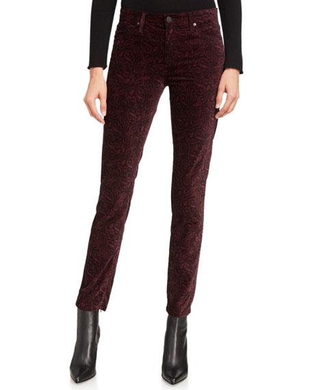 AG Adriano Goldschmied Farrah High-Rise Velvet Skinny Jeans
