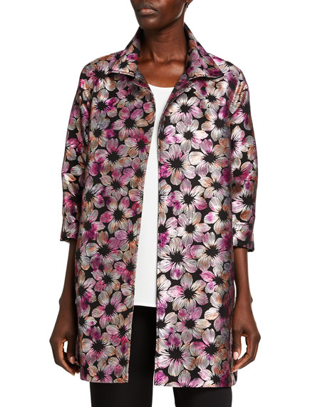Caroline Rose Plus Size Fiesta Floral Jacquard Party Jacket