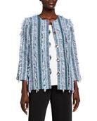 Caroline Rose Flirty Fringe-Trim Boxy Tweed Jacket