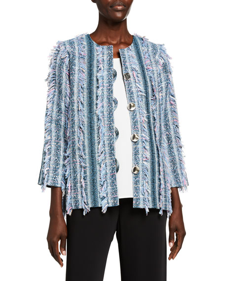 Caroline Rose Petite Flirty Fringe-Trim Boxy Tweed Jacket