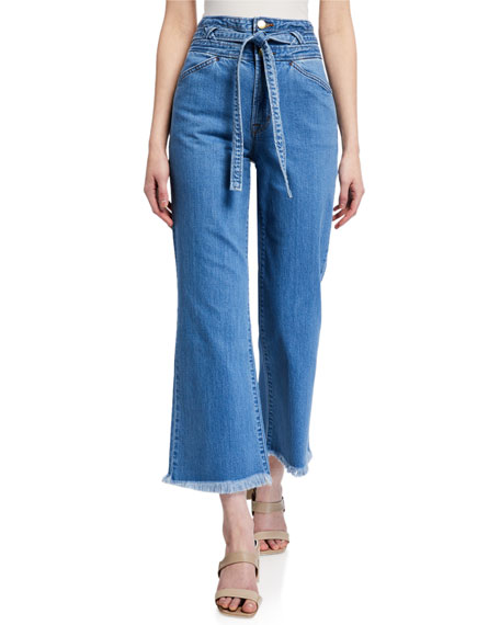J Brand Sukey Crop Belted Flare Jeans
