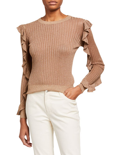 Beza Shimmered-Knit Sweater with Ruffle Sleeves