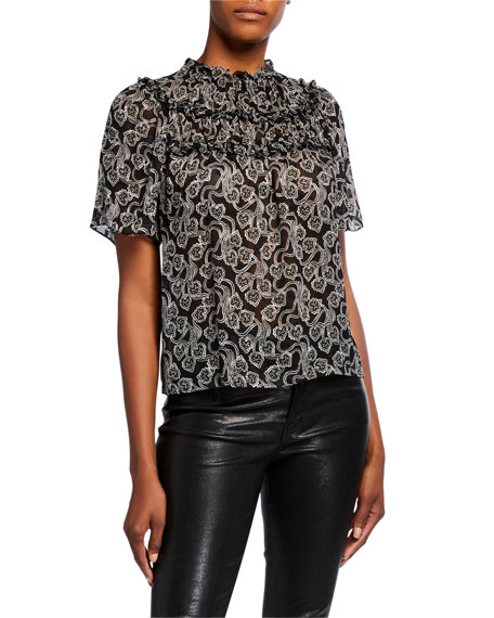 Rebecca Taylor Celia Short-Sleeve Lace Top