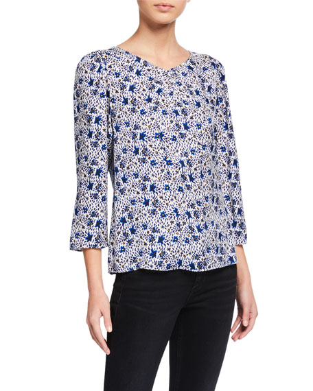 Rebecca Taylor Twilight Printed 3/4-Sleeve Top