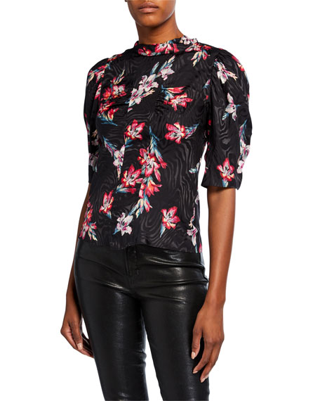 Rebecca Taylor Noha Short-Sleeve Floral Top