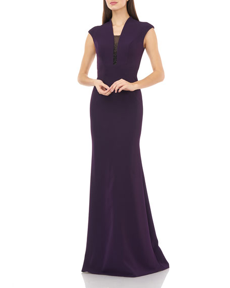 Carmen Marc Valvo Infusion V-Neck Cap-Sleeve Crepe Gown w/ Beaded Inset Illusion