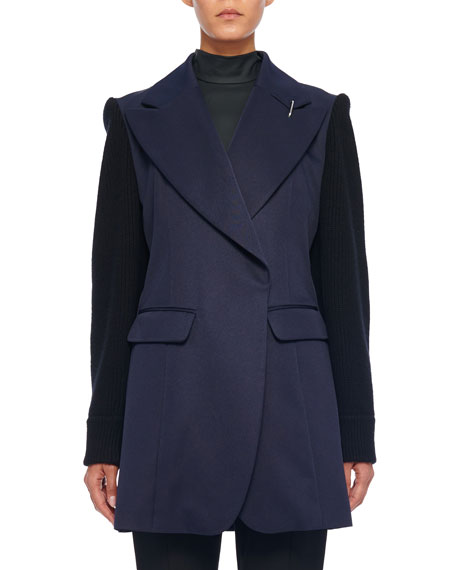 Tibi Tchy Twill Long Peaked-Lapel Blazer, Black