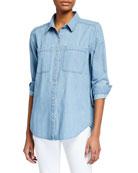Eileen Fisher Organic Cotton Drapey Denim Shirt