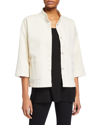 Organic Cotton Stand-Collar 3/4-Sleeve Jacket