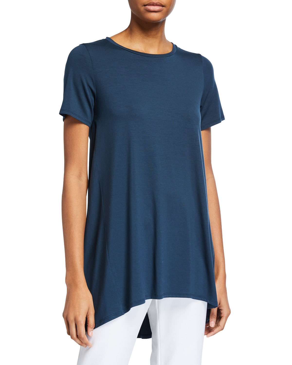 Eileen Fisher Downs PETITE CREWNECK SHORT-SLEEVE A-LINE JERSEY TUNIC