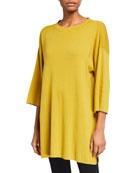 Eileen Fisher 3/4-Sleeve Organic Cotton-Blend Tunic Sweater