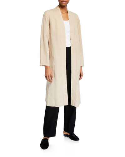 Lyocell/Linen Long Open-Front Jacket