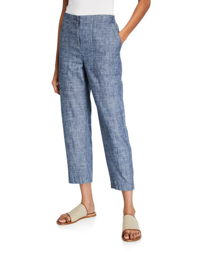 Chambray Ankle Pants