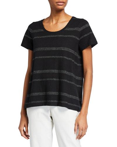 Striped U-Neck Short-Sleeve Jersey Tee