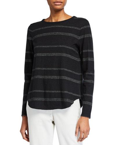 Striped Long-Sleeve Jersey Tee w/ Shirttail Hem