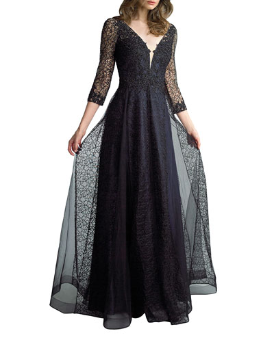 V-Neck 3/4-Sleeve Lace A-Line Gown