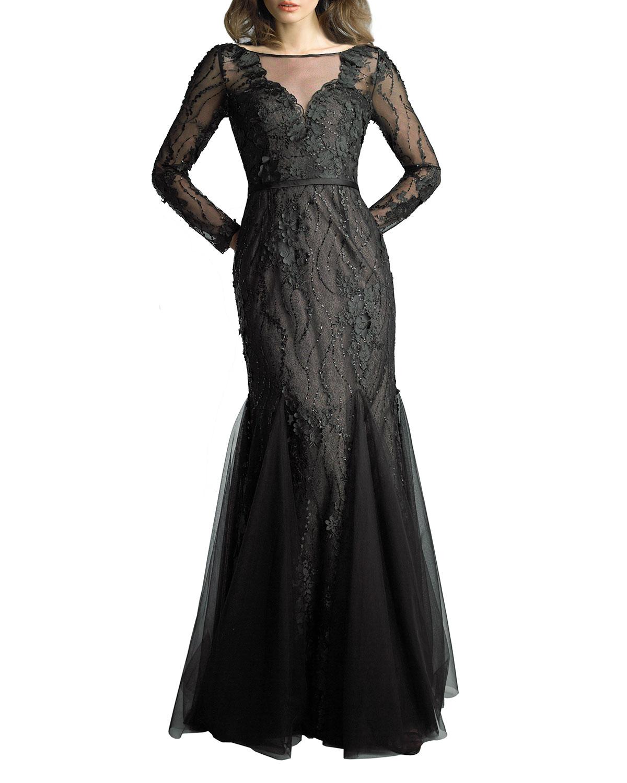 Embellished Long-Sleeve Godet Illusion Gown