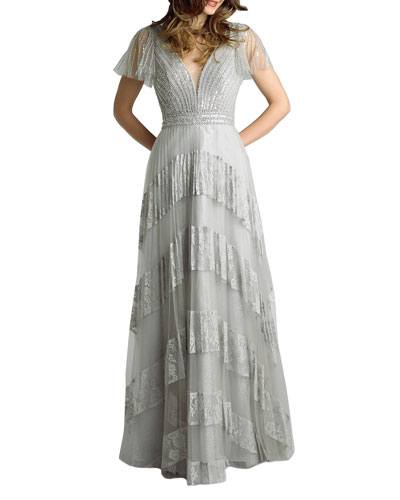 Beaded Embellished Cap-Sleeve Lace Gown