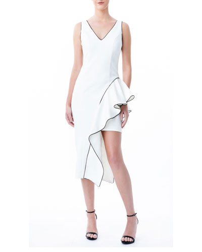 V-Neck Sleeveless Asymmetrical Sheath Dress w/ Side Ruffle