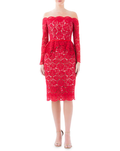 Off-the-Shoulder Peony Lace & Tulle Long-Sleeve Peplum Dress
