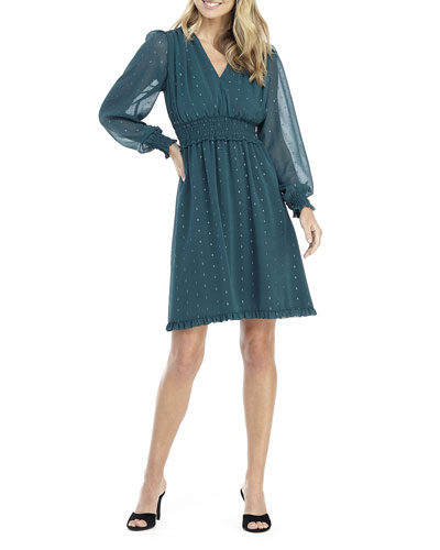 V-Neck Long-Sleeve Smocked Chiffon Fit-and-Flare Dress