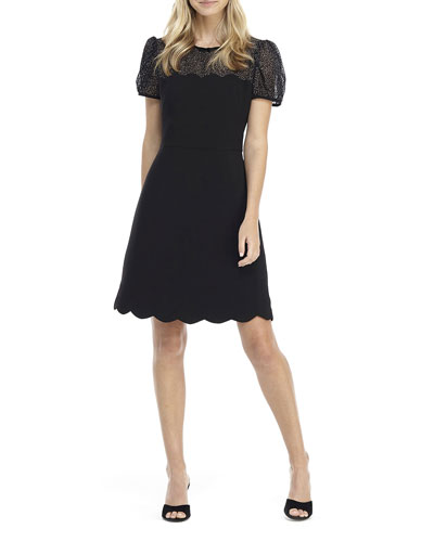 Short-Sleeve Scallop Edge A-Line Dress
