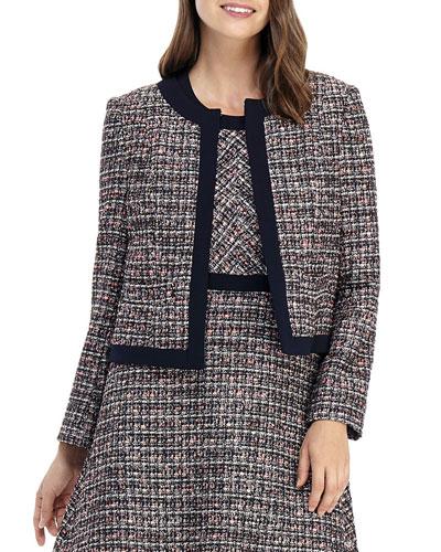 Jewel-Neck Tweed Jacket