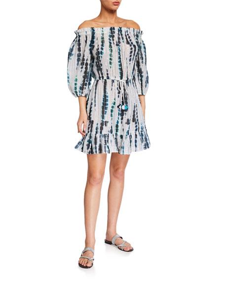 Shoshanna Off-Shoulder Tie-Dye Coverup Dress