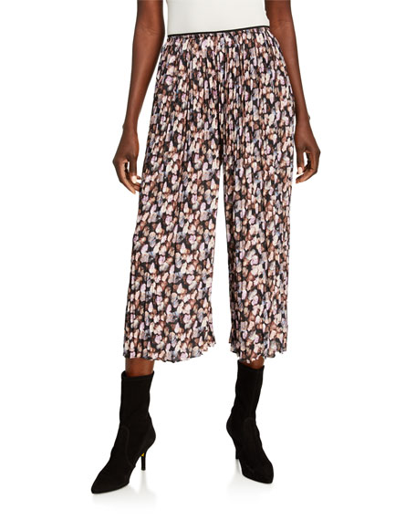 Vince Micro Painted Floral Pleated Culottes