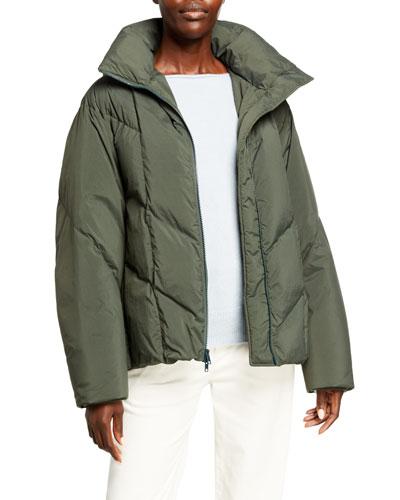 Hooded Zip-Front Puffer Jacket