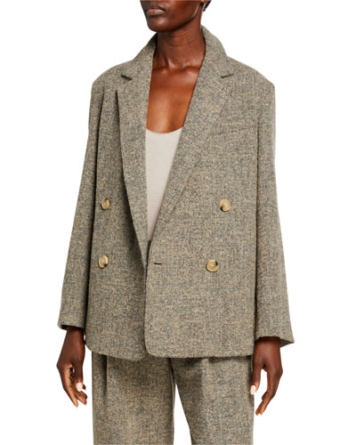 Pebble Texture Double-Breasted Jacket