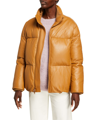 Zip-Front Leather Puffer Jacket