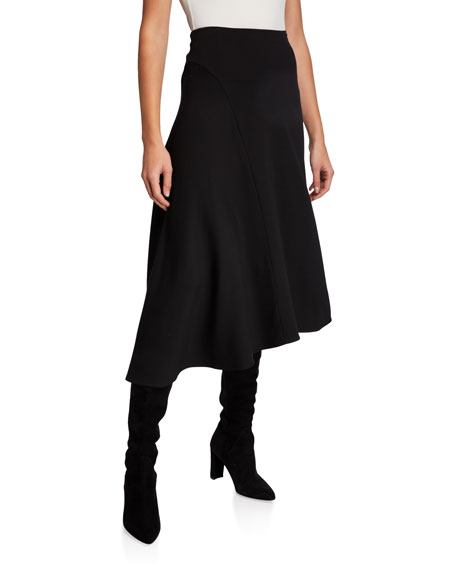 Vince Asymmetric Seam Midi Skirt