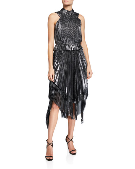 flor et.al Eve High-Neck Pleated Metallic Handkerchief Dress