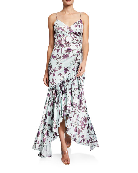 flor et.al Bird Print Cami Gown w/ Pleated Ruffles