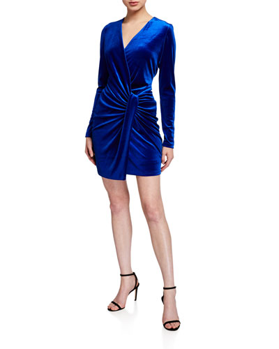 Abina Twist-Front Long-Sleeve Stretch Velvet Dress