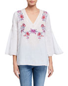 Johnny Was Plus Size Caelynn Embroidered Front Swing-Sleeve