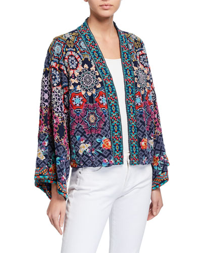 Camden Embroidered Reversible Kimono Jacket