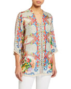 Johnny Was Blush Button-Down Silk Blouse