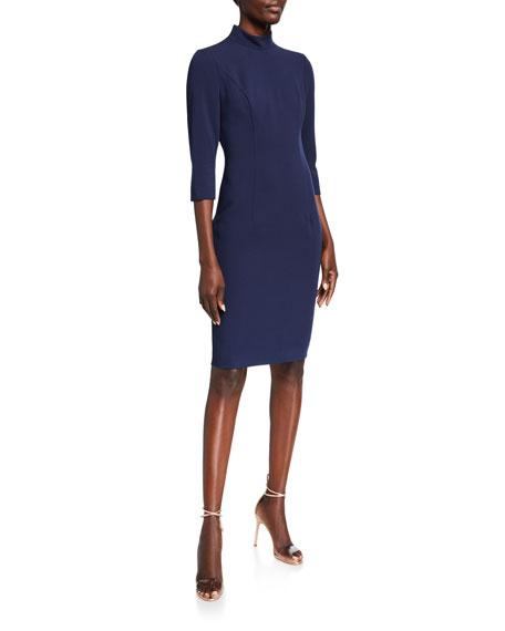Black Halo Kavita Mock-Neck 3/4-Sleeve Sheath Dress