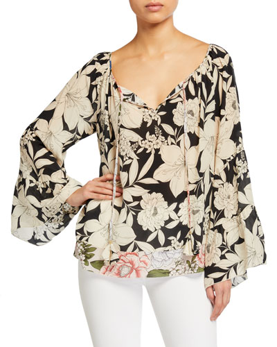 Eva Floral Tiered-Sleeve Silk Blouse