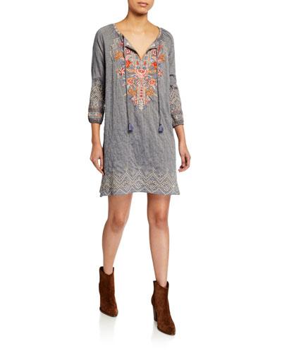 Ellington Embroidered Peasant Dress with Slip
