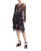 Johnny Was Karasi Long-Sleeve Printed Mesh Dress